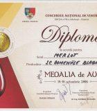 Domeniile Blaga Medalie de Aur Bachus 2016 pentru Merlot 2011